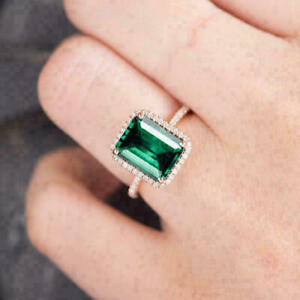 2.87 CT Green Emerald & Diamond Halo Engagement Ring 14K Rose Gold Over Silver