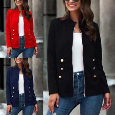 Womens Zip Slim Work Suit Blazer Coat Jacket Ladies Long Sleeve Casual Outwear