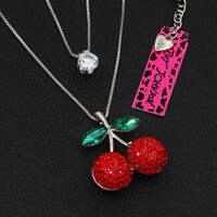 Betsey Johnson Red Crystal Cherry CZ Charm Double Pendant Long Chain Necklace
