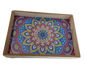 Boho Bohemian Mandala Printed Serving Tray Display X 1  L: 40x30x5