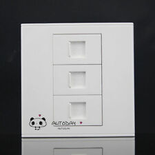 Wall Socket Plate 3 Ports CAT6 Cat 6 RJ45 Network LAN  Outlet Panel Faceplate