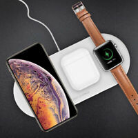 3 In 1 QI Wireless Charger Fast Charging Dock Pad Mat For Apple  iWatch iPhone