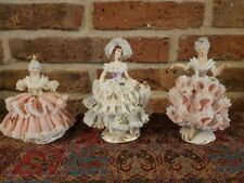 Large Size Set of 3 Antique Dresden Lace figurine - Dancing Woman