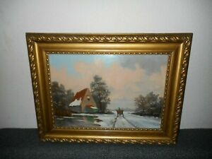 Old oil painting,{ Winterlandscape - man, wagon and farmhouse, nice frame! }.
