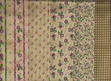 """Bella Rosa"", Purple Rose bud prints, RJR, Set of 5 Fat Quarters, Quilting"