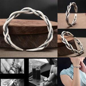Men 925 Sterling Silver Thai Handmade Vintage Open Bangle Twisted Cuff Bracelets