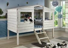Kids White Twin Tree House Loft/Bunk Bed with Ladder & Optional Storage Drawers!