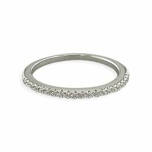 Sterling Silver Ring White Cubic Zirconia Thin Half Eternity New