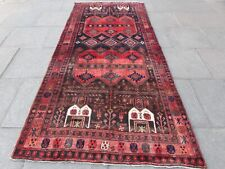 Vintage Traditional Hand Made Oriental White Red Blue Wool Long Rug 307x140cm