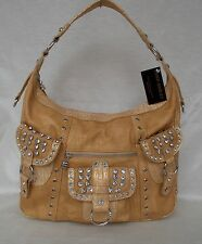 New Women's Ohh Ashley Hobo Handbag withli Acrylic Stones Color Sand