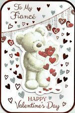 To My FIANCE -  VALENTINE'S DAY CARD ~ QUALITY VALENTINES Bear Design