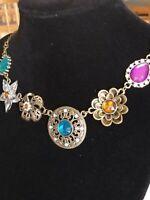 Vintage Floral RHINESTONE Bauble Pendant Necklace 22 inch
