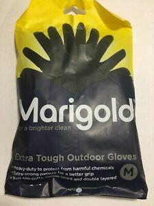 1 Par Medio (7 1/2) marigold Extra Resistente Exterior Guantes Negro Mano