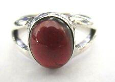 Sterling Silver 925 Genuine Garnet Cabochon Vintage Ring Size 8