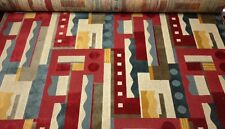 CLARENCE HOUSE ELLINGTON RED GEOMETRIC ABSTRACT LINEN VELVET FABRIC BY THE YARD