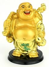 Feng Shui Laughing Buddha Gold Statue Figurine Wealth Happy Money (382)