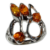 4.4g Authentic Baltic Amber 925 Sterling Silver Ring Jewelry N-A7274A