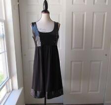 Size M-TIANA B. Black Dress Pantent Leather Square Print Bust + Trim