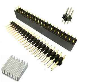 40 Pin GPIO 2x20 Female Header 40 Male Pins for Raspberry Pi Zero + Heatsink