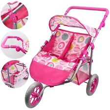Twin Dolls Stroller Pushchair Baby Doll Buggy Pram with Storage Basket Girls Toy