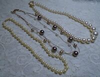 VINTAGE TO NOW GLASS & LUCITE FAUX PEARL BEADED NECKLACE LOT