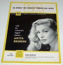 Anita Ekberg Vintage Announcements Valerie 1957 Promo Mini Poster United Artists