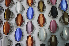 wholesale jewelry lots 25pcs big colorful cat's-eye charming Trendy Lady's rings