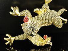 Hombre Acabado De Oro Amarillo Imitación Diamantes Tom Y Jerry Cadena Charm Set