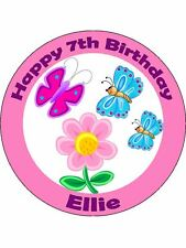 Personalised Butterflies edible icing birthday cake topper decoration round