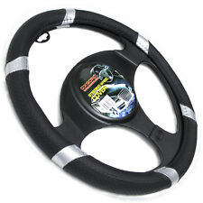 Faux Leather Steering Wheel Cover for Car Truck Van SUV Black Silver Universal