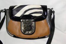 New Brighton Fashionista Multi-color Leather Zebra Pouch Cross-body Bag