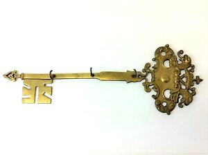 Vintage Used Brass Metal Decorative Key Rack Hanger Wall Mount Old