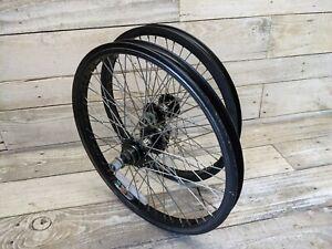 2001 Black Haro Wheelset Fat Hubs Alex Y22 Rims Mid School BMX Backtrail X3