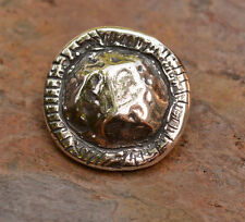 Artisan Rustic Edge Button in Sterling Silver 91j
