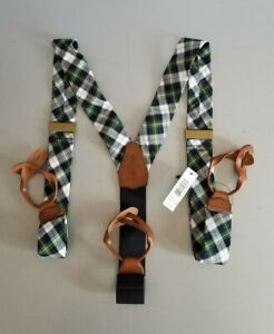 $125  POLO RALPH LAUREN LEATHER & MADRAS COTTON MENS  SUSPENDERS -BRACES