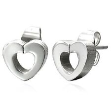 Silver Stainless Steel Cutout Heart Stud Earrings s20