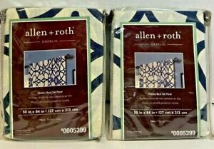 """LOT of 2 allen + roth Oberlin 50"""" x 84"""" Navy Cotton Curtin Panel 0005399 NEW"""