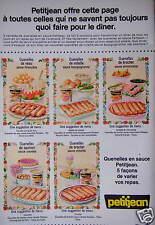 PUBLICITÉ 1974 PETITJEAN QUENELLES EN SAUCE 5 FAÇON VARIER - ADVERTISING