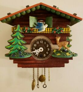 Vintage Working German Hand Painted Animated Bluebird Cuckoo Chalet Wall Clock
