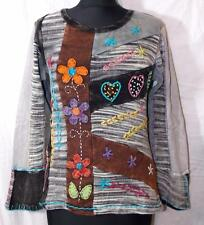 FAIR TRADE GRINGO ETHNIC HIPPY BOHO APPLIQUE FLOWER DESIGN LONG SLEEVE TOP S/M
