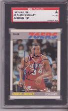 CHARLES BARKLEY 76ERS SIGNED 1987-88 FLEER BASKETBALL CARD SGC SLAB VINTAGE AUTO