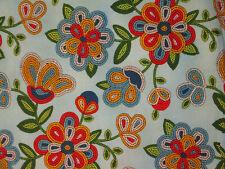 Navajo Native American Beaded Like Floral Colors Light Turq Cotton Fabric BTHY