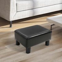 HOMCOM PU Luxury Leather Footstool Ottoman Cube w/ Plastic Legs Dark Brown