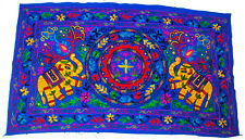 Indian Wall Hanging Cover Wool Elephant Embroidery Gypsy Throw Home Decor Blue