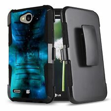 For LG Fiesta L63BL L64VL X Power 2 K10 Power X Charge Case+Holster Clip Cover