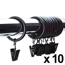 10 x BLACK METAL CLIP CURTAIN RINGS 28MM RINGS HANGING VOILE POLE ROD Heavy Duty