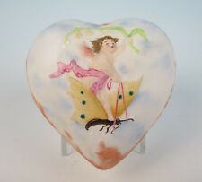 Antique Bisque Fairy Riding Butterfly Heart Trinket Box Shafer & Vater German
