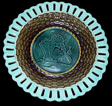 English Wedgewood Reticulated Pierced Cabinet Majolica Plate Tri Color