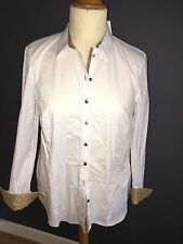 NWT ERFO WHITE COTTON LONG SLEEVE SHIRT WITH TAUPE MOLESKIN TRIM SZ 18 RRP £85