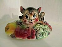 Vintage American Bisque Cat in Fruit Basket Ceramic Cookie Jar LID ONLY Kitsch